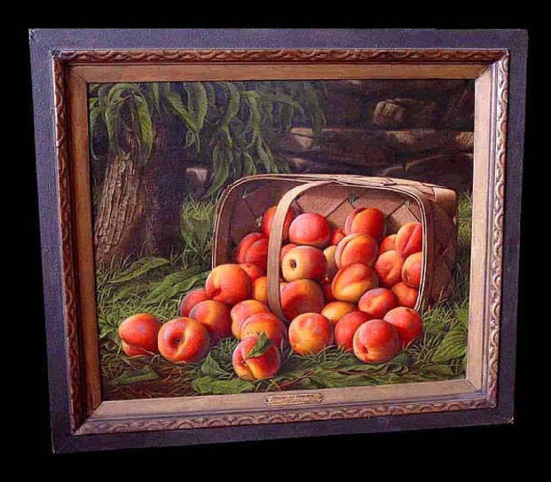 Basket Of Peaches Levi Wells Prentice 1851 American Oil