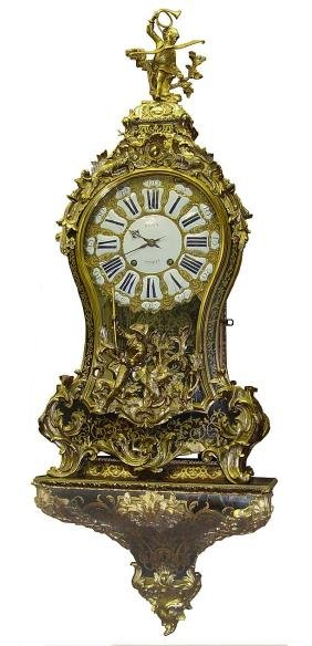 18c French Louis XV Ormoulu Bronze Boulle Bracket Clock