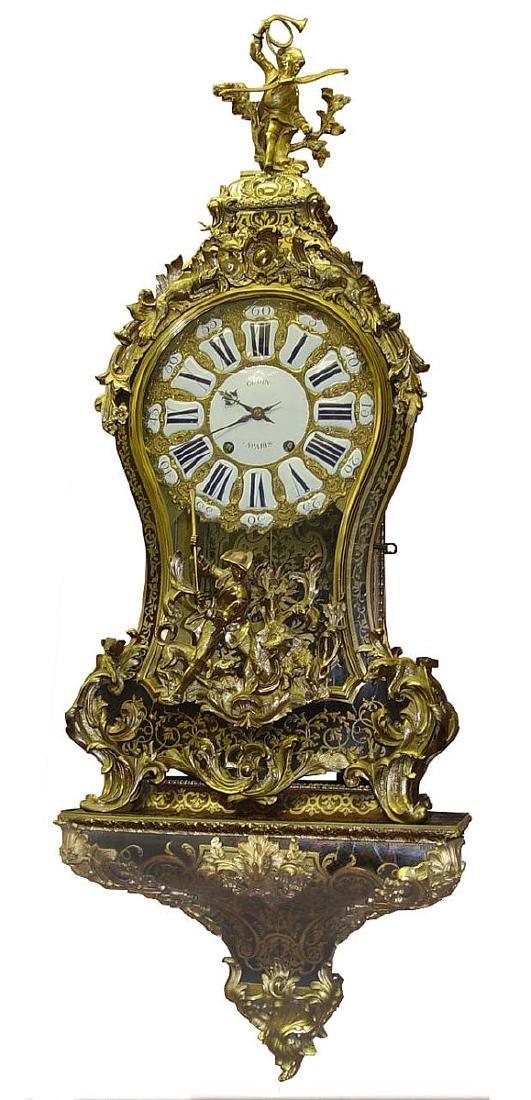 18c French Louis XV Ormoulu Bronze Boulle Bracket Clock