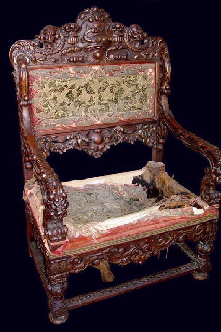 17th Century French Throne Chair Walnut Armchair Dragon