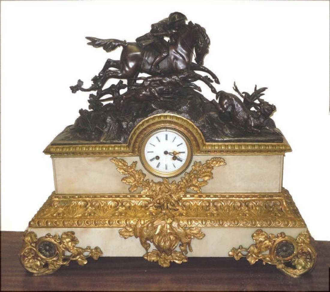 Massive Rococo Revival French Bronze Hunting Scene