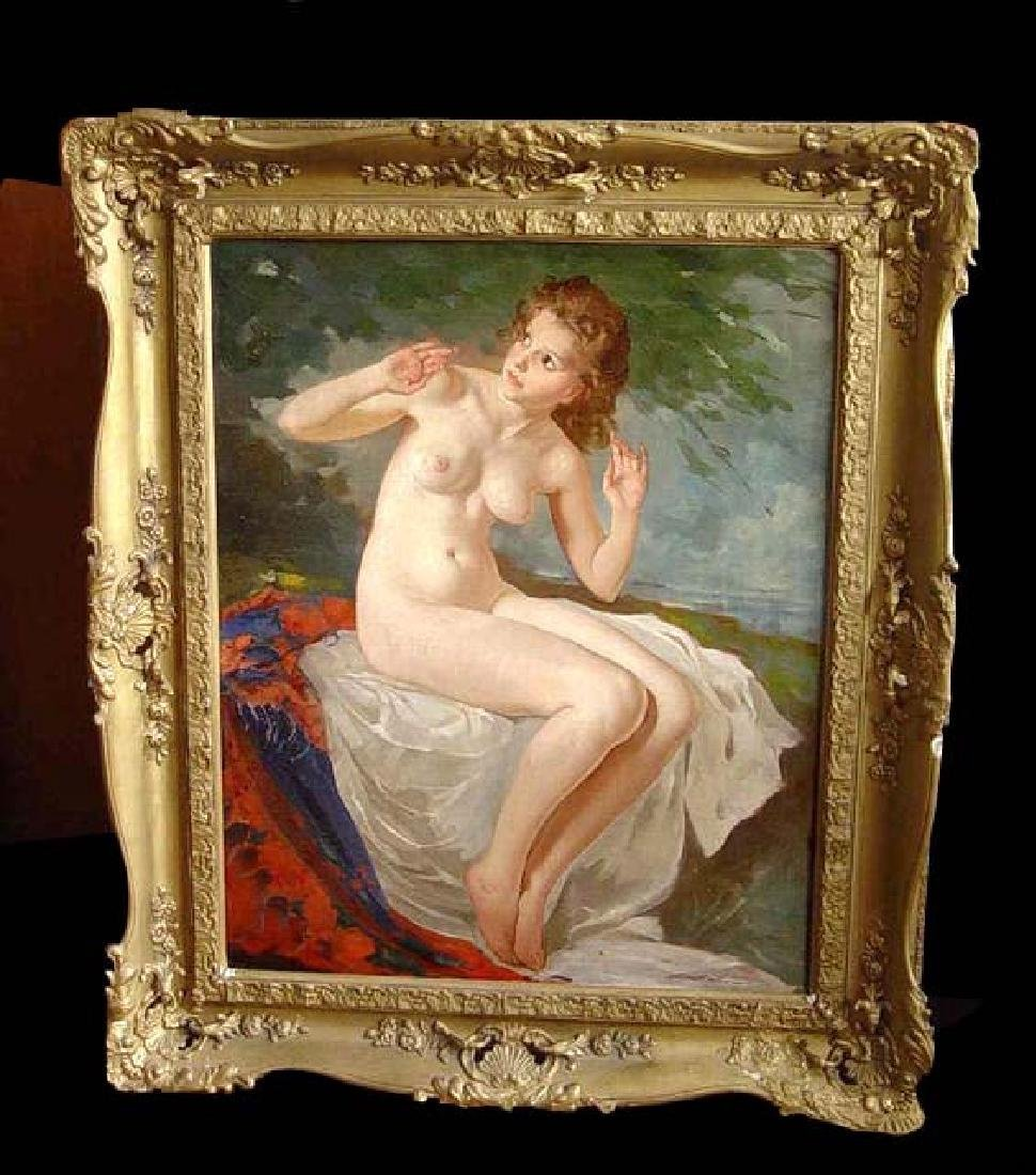 Szantho Maria Seated Female Nude Oil Painting Young