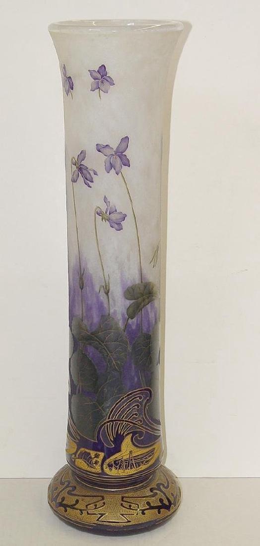 Art Nouveau Daum Nancy Grasshopper Iris Gilded Cameo