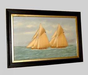 Racing Sloops Silk Oil Painting Thomas Willis American