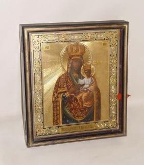 19th Century Mother Of God Russian Icon Enamel Gilt
