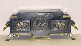 19c French Egyptian Revival Big Cat Mantle Clock Cougar