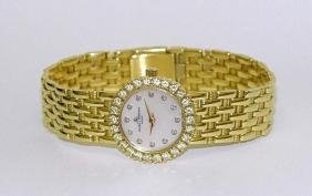 18k Gold Baume Mercier Mop Diamond Dial 18kt Watch