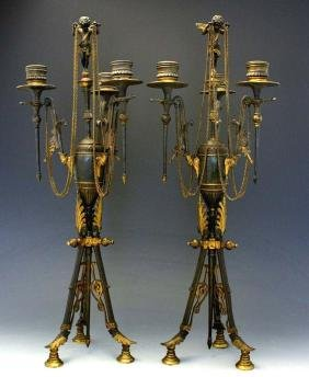 Pair 19c French Empire Gilt Bronze 3 Light Candelabra