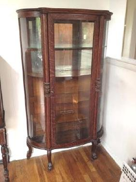 Tiger Oak Bow Front Curio China Cabinet Case North Wind