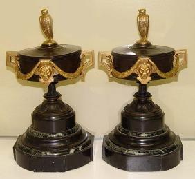 19th Century French Empire Gilt Bronze Cassolette Urns
