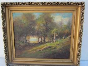 California Tonalist Wooded Landscape Oil Painting