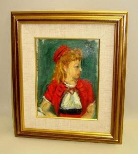 Robert Philipp Oil Painting Young Girl In Red Hat