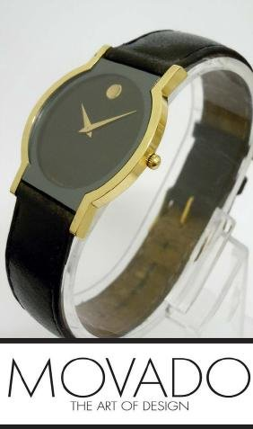 Mens Solid 18kt Gold Movado Museum Dress Wristwatch 40