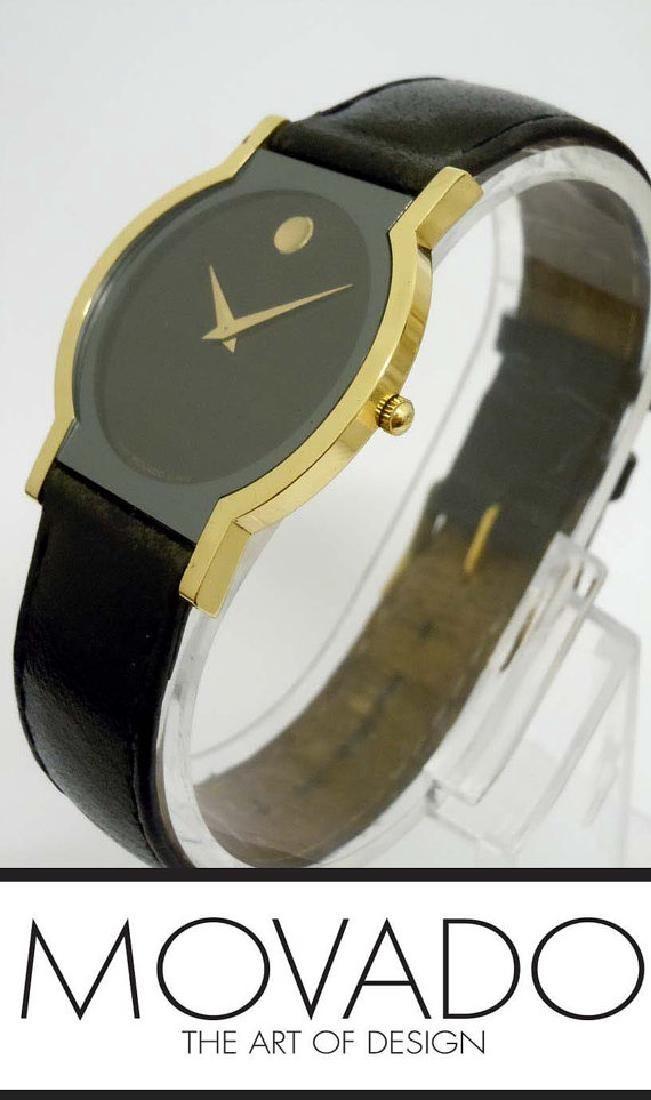 Mens Solid 18kt Gold Movado Museum Dress Wristwatch 40
