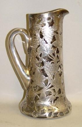 1887 Alvin Grape Vine Pattern Silver Overlay Crystal