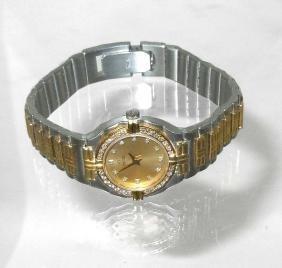 Ladys Concord 18k Gold Champagne Diamond Dial Bezel