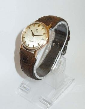 1950s Mens 18k Gold Omega Automatic Cal 491 Wristwatch