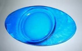 Rene Lalique Glass Feuilles Electric Blue Cendrier