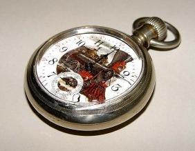 1883 American Waltham Railroad Pocket Watch Locomotive