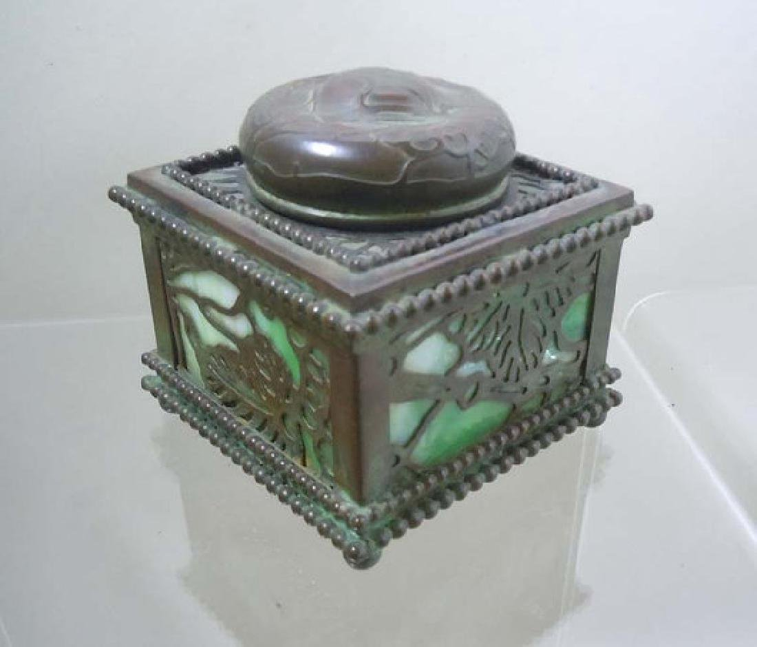 Tiffany Studios Grapevine Desktop Ink Well With Glass