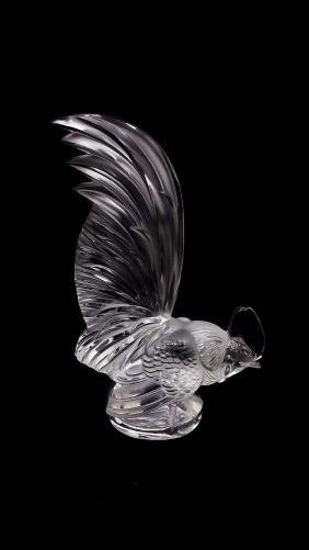 Lalique France Crystal Frosted Glass Rooster Coq Nain