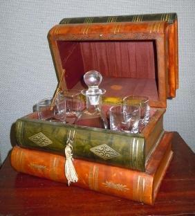 Antique Leather Bound Book Liquor Tantalus Box Decanter