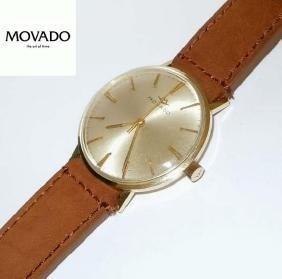 Vintage Mens Movado Solid 14Kt Gold Sub Sea Wristwatch