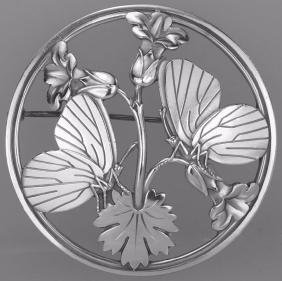 Georg Jensen Moonlight Blossom Silver Nouveau Butterfly