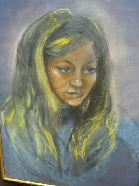 Reine Cimiere Pastel Young Female Portrait Painting