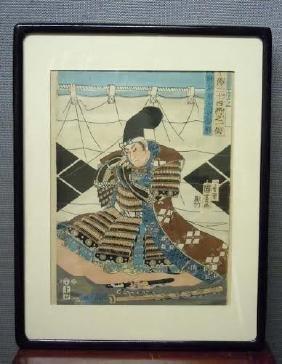 Meiji Era Japanese Woodblock Print Samurai Warrior with