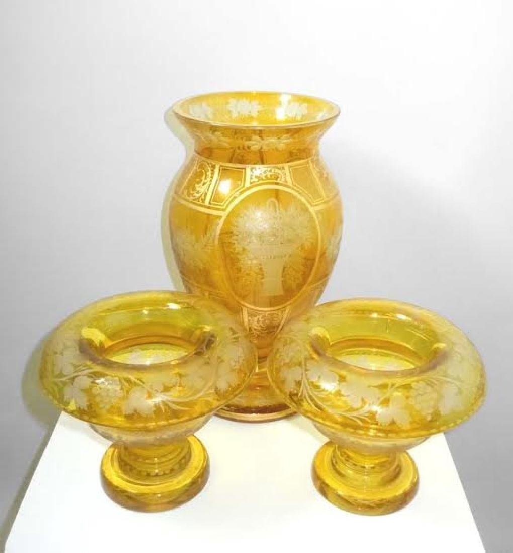 Amber Gold to Clear Bohemian Vase and Garniture Bowls