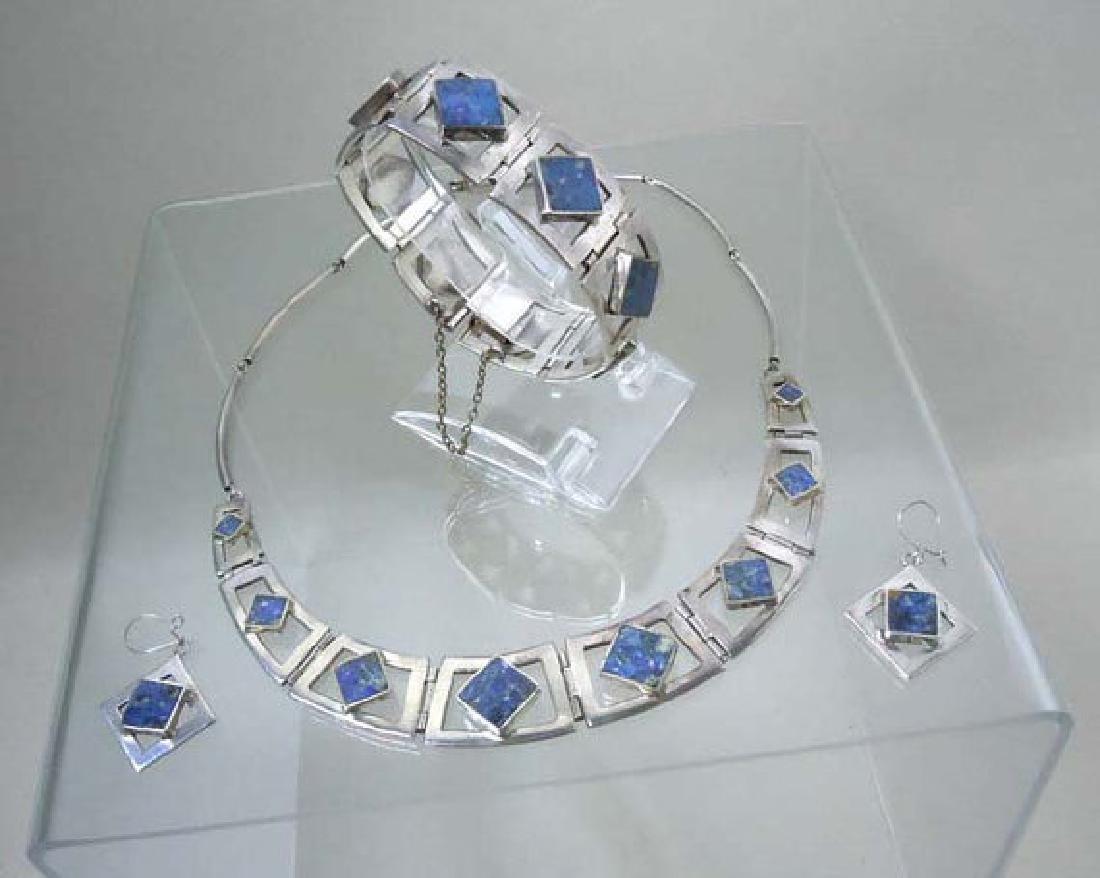 Vintage Sterling Silver Lapis Lazuli Necklace Bracelet