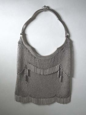 Antique 800 Silver Geschutzt Ladies Mesh Purse with