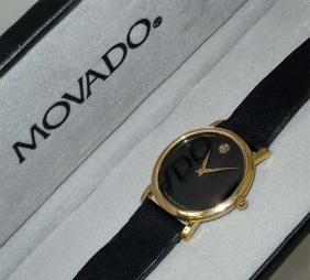 Classic Mens Movado Museum Watch 87 E4 0884 Gold Bezel