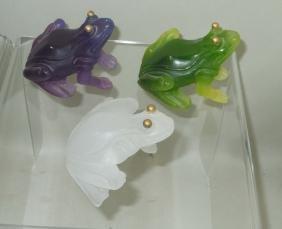 Daum France Pate de verre Art Glass White or Purple