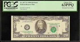 Unc 1990 20 Dollar Bill Misaligned Face Printing Error
