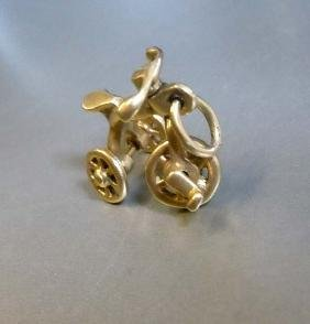 14kt Gold Moving Tricycle Bracelet Pendant Charm