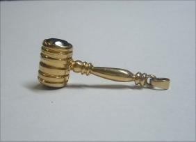 14Kt Gold Garnet Mallet Hammer Charm Pendant Judge