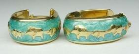 14Kt Gold Enamel Elephant Hoop Earrings Turquoise Blue