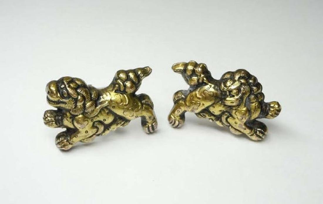 Sterling Silver Vermile Gold Wash Chinese Foo Dog Cuff