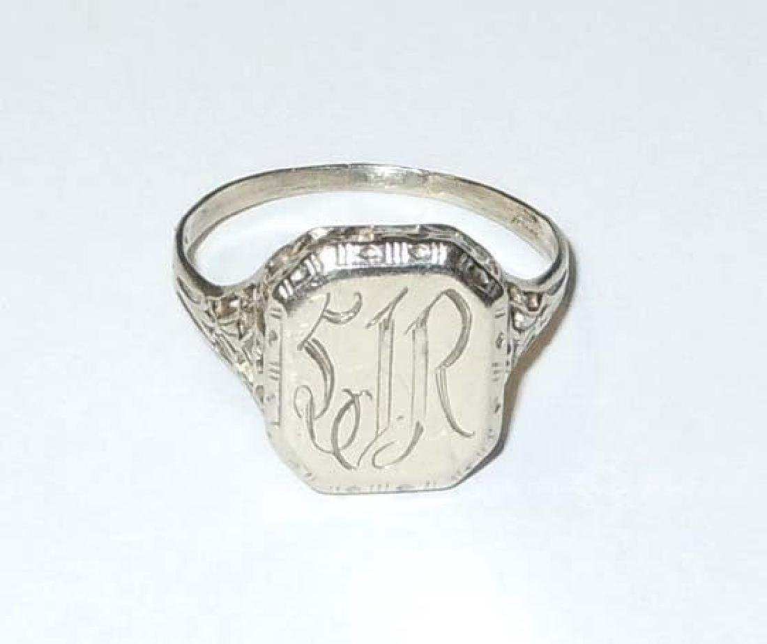 Edwardian Era 14kt White Gold SIR Signet Pinky Ring