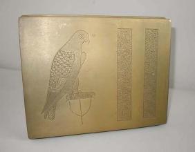 Arts Crafts Hand Engraved Brass Ceder Lined Cigar