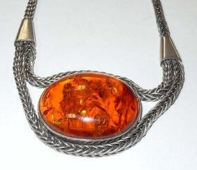 Vintage Cabochon Baltic Amber Sterling Silver Necklace