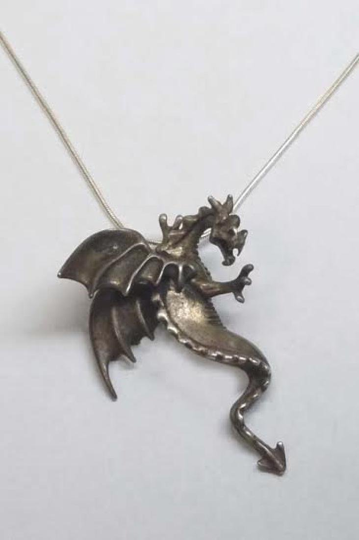 Sterling Silver Winged Dragon Pendant Charm Necklace