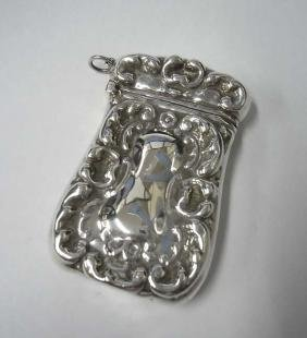 Victorian C Scroll Repousse Sterling Silver Match Safe