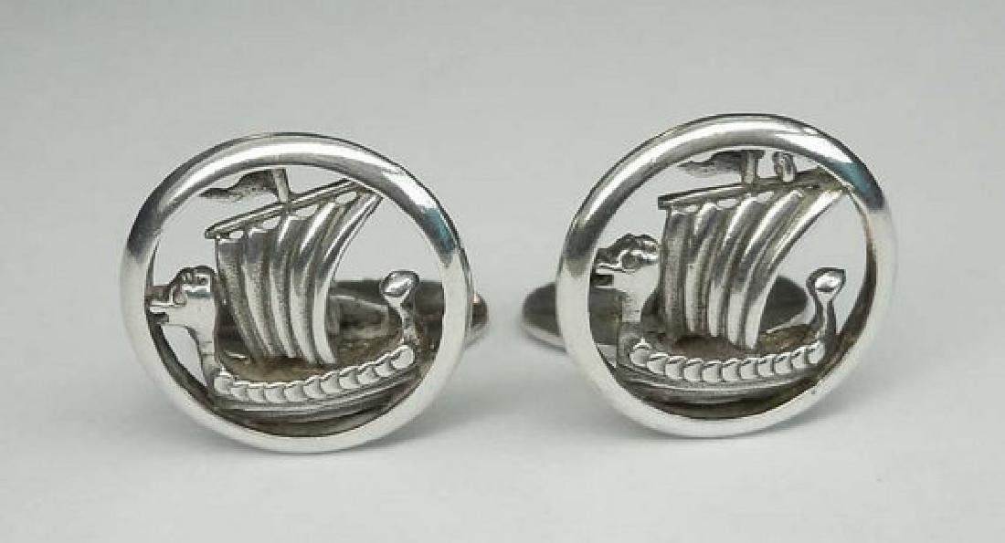 Vintage Pair of Sterling Silver Open Work Viking Ship