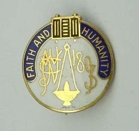 Faith and Humanity Blue White Enamel 14kt Gold Brooch