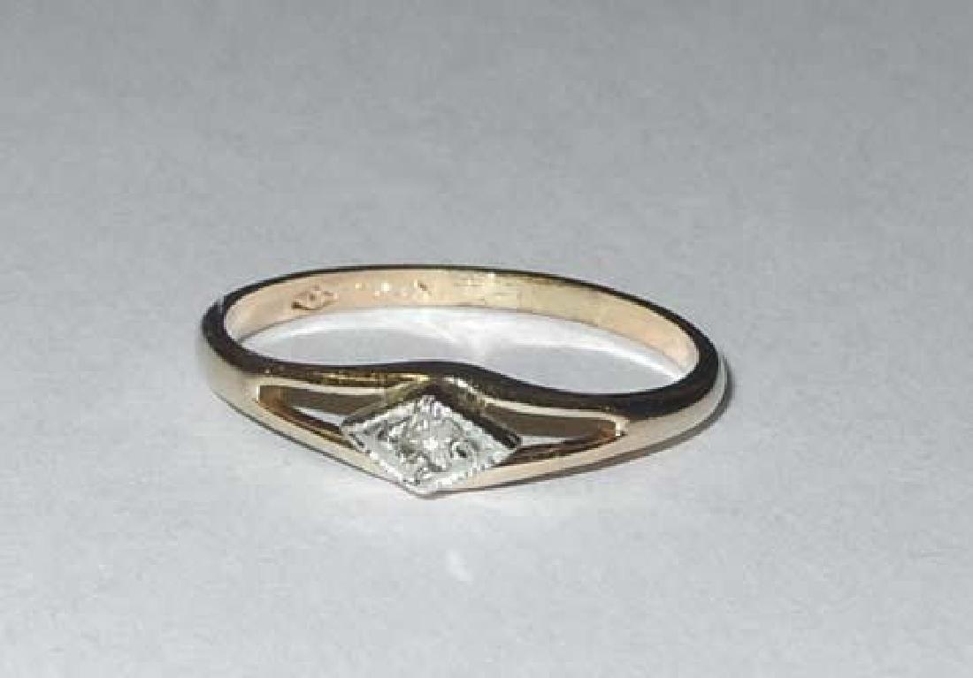 Art Deco 10Kt yellow White Gold Diamond In The Rough