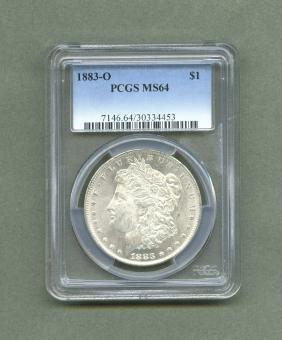 1883-o Morgan Silver Dollar MS64 PCGS graded FREE