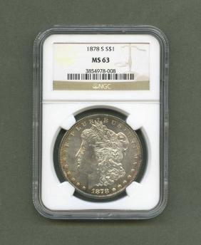 Graded 1878 S S1 Morgan Silver Dollar MS63 NGC graded